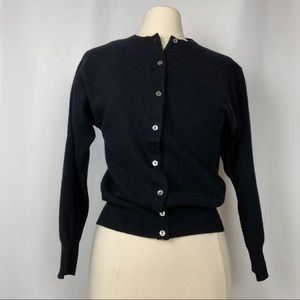 Benetton of Italy Wool/Angora Black Cardigan,Sz 16